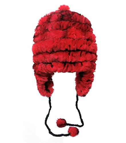 Onmygogo Rabbit Hair Knitted Winter Bomber Hat for Women, Plush Warm Elastic Headwear with Thick Lining (Red)