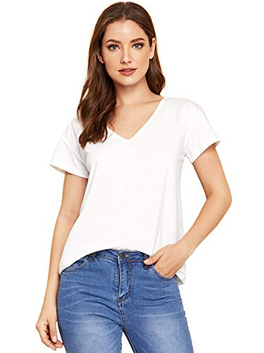 (Verdusa Women's Casual V Neck Short Sleeve T-Shirt High Low Tunic Tee Tops White M)