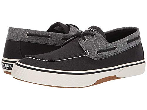(SPERRY Men's, Halyard Lace up Boat Shoe Chambray Black 9.5 M)