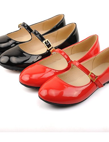 PDX/ Damenschuhe - Ballerinas - Kleid - Kunstleder - Flacher Absatz - Rundeschuh - Schwarz / Rot , red-us5 / eu35 / uk3 / cn34 , red-us5 / eu35 / uk3 / cn34