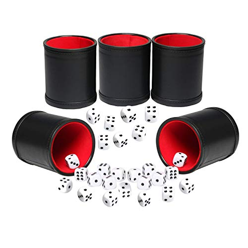 (Leatherette Dice Cup Set Red Felt Lined Shaker with 6 Dot Dices for Yahtzee Farkle Bar Party Dice Games-5 Pack)