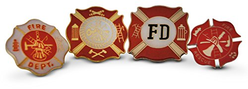 Fire Department Pin - Firefighter Americas' Bravest Pride 4 Piece Lapel or Hat Pin & Tie Tack Set with Clutch Back by Novel Merk