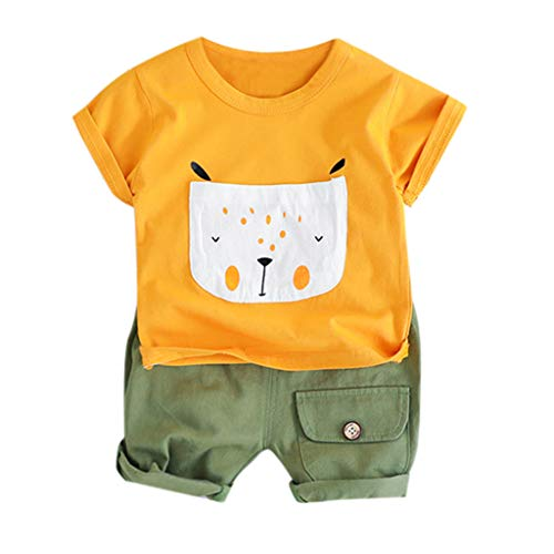 Summer Cute T-Shirt Set for Boys Cartoon Pocket Cotton Tops+Solid Shorts 2Pcs Outfits (Orange, Recommended Age:6-12 - Bib Free Knicker