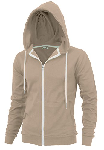 Delight Men's Fashion Fit Full-Zip Hoodie with Inner Cell Phone Pocket (US Large, Beige) by Lite Delights
