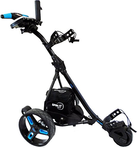 Spin It Golf Products Easy Trek Sport Remote Controlled Golf Caddy, Black/Blue - Power Caddy Golf Carts