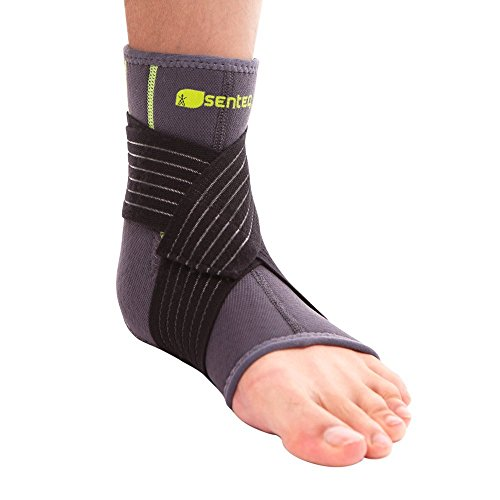 SENTEQ Ankle Brace Support Sleeve - Medical Grade & FDA Approved. Ankle Stabilization Sleeve with Strap and Heel Compression Wrap with Gel Padding Provides Support for Joints and Muscles. (SQ2 N003 S) by SENTEQ (Image #1)