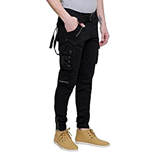 Tubination Mens Black Dori Style Relaxed Fit Cotton Cargo Jogger Jeans Pants