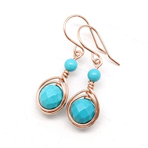(Rose Gold Filled Earrings with Turquoise Stones)