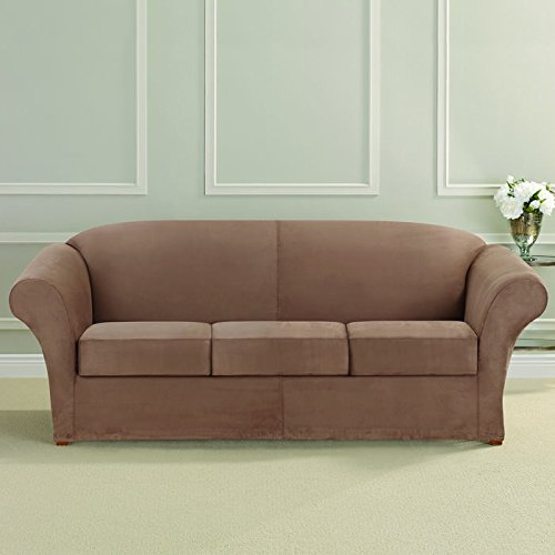 Ultimate Heavyweight Stretch Faux Suede 3 Box Cushioned Sofa Slipcover