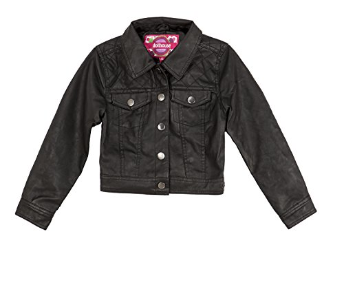 Dollhouse Baby Girls' Faux Leather Motorcycle Jacket 12M Caviar Black