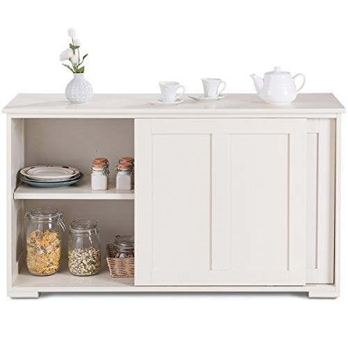 Cypress Shop Kitchen Buffet Storage Cabinet Cupboard Pantry Organizer Sideboard Buffet Cupboard Wood Sliding Door Dining Pantry Dining Room Display Shelving Unit Home Decor Furniture (White)