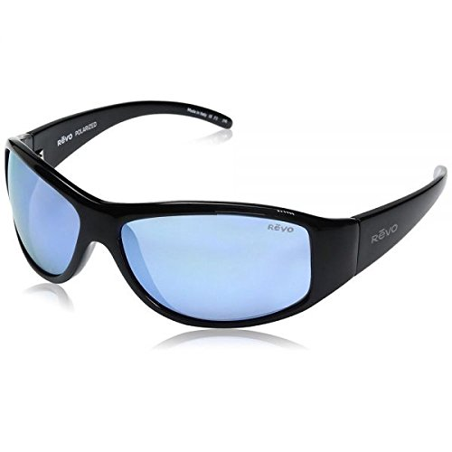 Revo Re 5014 Tander Wraparound Polarized Wrap Sunglasses, Shiny Black Blue Water, 64 mm