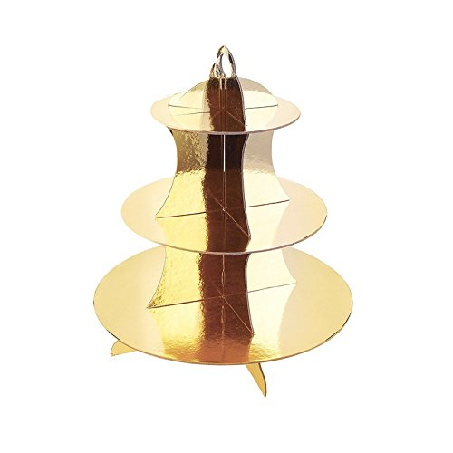 "Adorox 3-Tier Gold Round Cardboard Cupcake Stand Dessert (12""W x 13.5""H) Birthday Wedding Special Event Decoration (Reusable)"