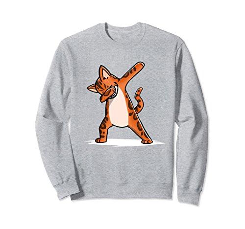 Unisex Dabbing Bengal Cat Sweatshirt Funny Dab Dance Cat Gift XL: Heather Grey