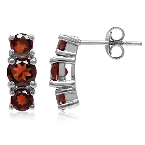 (2.58ct. 3-Stone Natural Round Shape Garnet White Gold Plated 925 Sterling Silver Post Earrings)