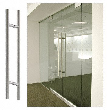 CRL Brushed Stainless Finish 84'' Extra Length Ladder Style Back-to-Back Pulls by C.R. Laurence