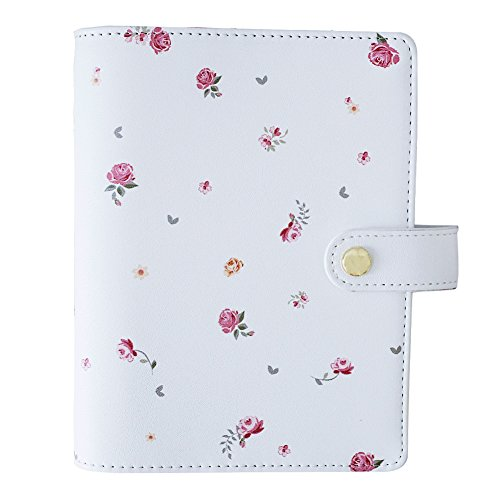 - Labon's 6 Round Ring A7 Binder Softcover PU Leather Zippered Personal Organizer Refills has Ruled Dotted Squared Blank Filler Paper Loose Leaf Premium Thick 100 Sheets 5 Divider Tabs Pink Flower