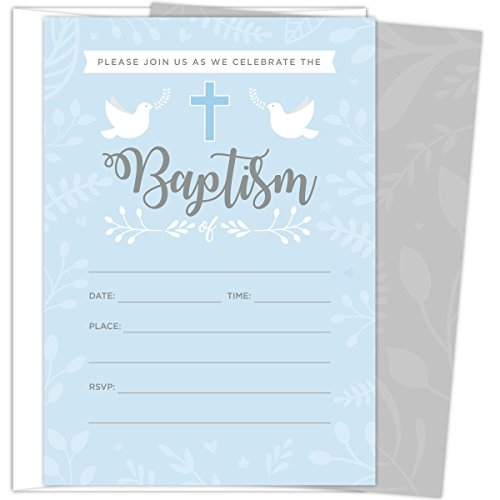 Baptism Invitations for Baby Boys, 25 Fill In