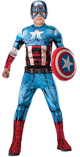 Cheap Kids Halloween Costumes (Marvel Avengers Assemble Captain America Deluxe Muscle-Chest Costume, Large)