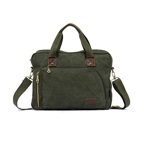 Men's Vintage Style Washed Canvas Travel School Business Laptop Bag Satchel Shoulder Crossbody Handbag Backpack Army Green