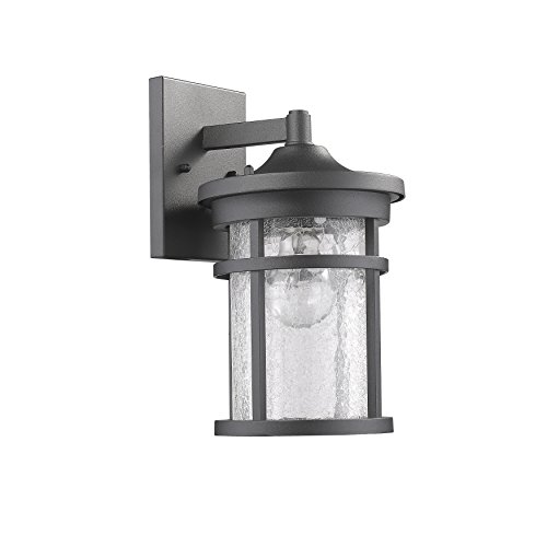 (Edvivi Lyra Outdoor Wall Sconce Textured Black Finish Glass Cylinder Lantern Lamp Light | Traditional Lighting)
