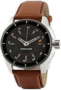 Fastrack Men's Black Dial Leather Band Watch - 3089SL05