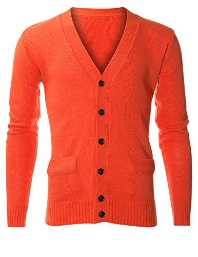 FLATSEVEN Mens Classic V-Neck Long Sleeve Lambswool Blend Sweater Cardigan (C400) Orange, XL