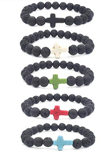 EVELICAL 5Pcs Bead Bracelet for Men Women Lava Rock Stone Cross Bracelet Elastic