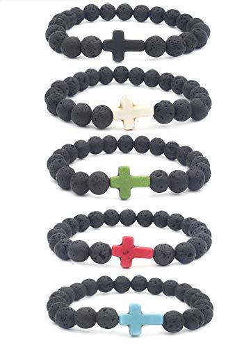 EVELICAL 5Pcs Bead Bracelet for Men Women Lava Rock Stone Cross Bracelet Elastic (Cross For Bracelets)