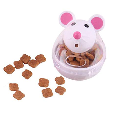 kathson IQ Treat Ball, Snack Ball Interactive Food Dispensing Training Play Toy, Mice Tumbler Shaped Pet Toy for Cats