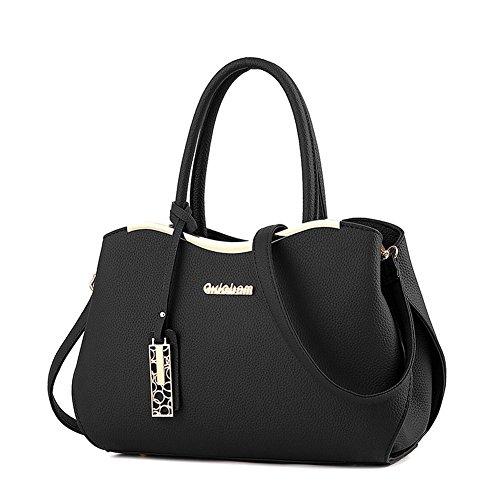 (G-AVERIL)Donna Borsa Handbag borsa a Spalla Borse a mano Tote Bag Shoulder Bag con Mutil tasche nero