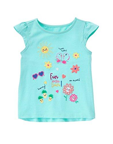 Gymboree Baby Toddler Girls' Sunny Days Graphic Tees, Aqua Spray, 5T
