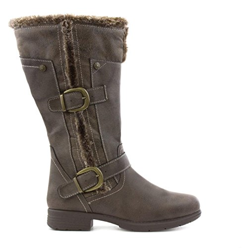 Lilley Damen Braun Casual Pelzgefütterter Stiefel mit Hohem Schaft Braun