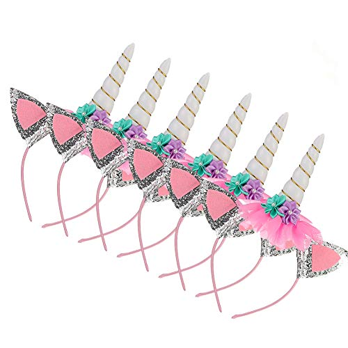 (6 Pack Kids Unicorn Horn Headband Ears Photo Props Birthday Outfit Cosplay Costume Party Supplies for Girl and Boy Gift (6)