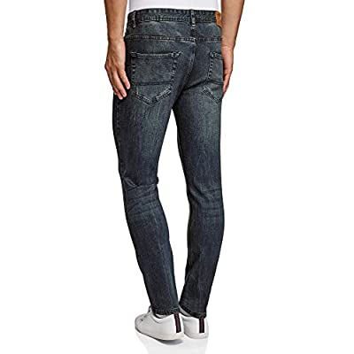 oodji Ultra Men's Mid-Rise Slim-Fit Jeans at  Men's Clothing store