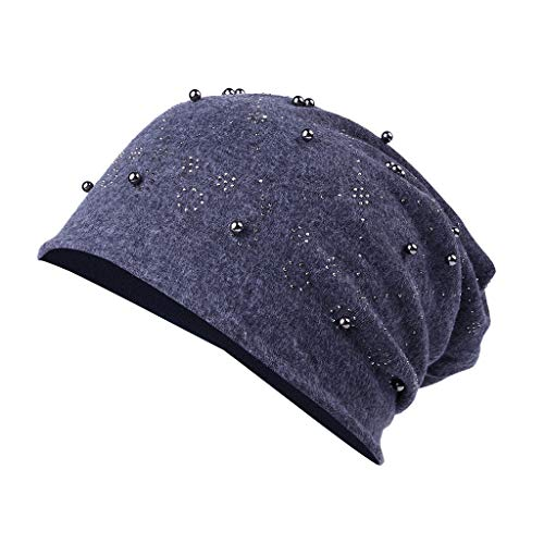 LUXISDE Women Baggy Chic Point Argyle Rhinestone Knitted Beanie hat Skull Cap Gray