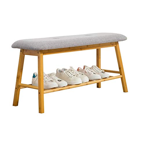 STAR-LIFE Bamboo Shoe Rack Bench with Flip Cover, Storage Ottoman Seat for Entryway Bedroom Living Room (Color : Gray)