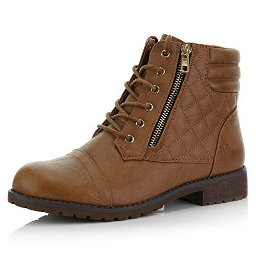 - DailyShoes Women's Military Lace Up Buckle Combat Boots Ankle High Exclusive Credit Card Pocket, Tan Pu, 12