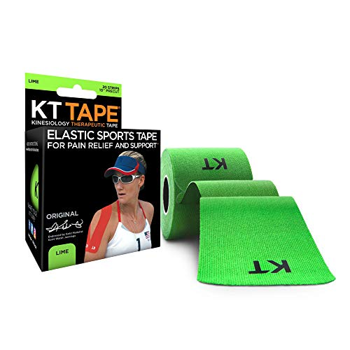 KT Tape Original Cotton Elastic Kinesiology Therapeutic Sports Tape, 20 Pre cut 10 inch Strips, Lime
