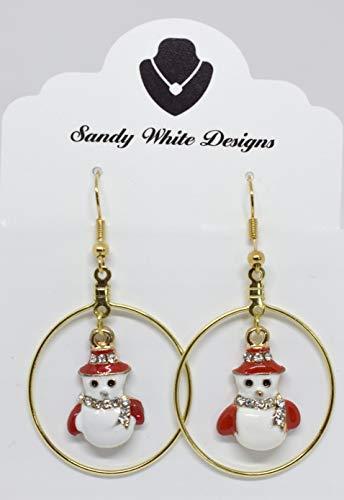 Everyday Handmade Christmas Dangle Hook Earrings, Holiday Party Drop Earrings, Festival Gift Idea, Christmas Enamel Snowman Earrings, Small Cute Christmas Costume Jewelry for Women Girls Nickel Free