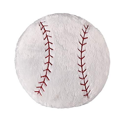 Ozzptuu Sports Theme Stuffed Plush Throw Pillows Round Shape Back Cushion Home Office Sofa Decor (Baseball)