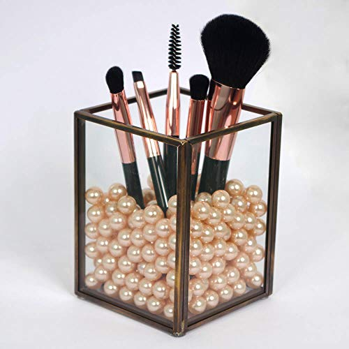 CANDIKO Glass Makeup Brush Holder Cosmetic Organizer Pen Cup Office Accessories Container Box with Pearl Beads – Small Antique Brass