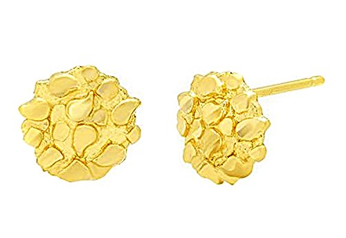 Mens Womens 10k Yellow Gold Round Nugget Earrings Small Nugget 0.6 g (Nugget Gold Yellow Ring)