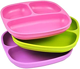 product image for Re-Play 3pk Divided Plates with Deep Sides for Easy Baby, Toddler, Child Feeding - Bright Pink, Lime Green, Purple (Butterfly)