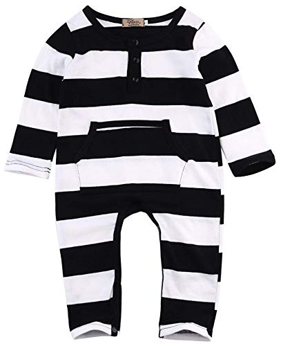 Newborn Baby Boys Girls Clothes Long Sleeve Striped Pocket Jumpsuit Romper Bodysuit Onesies Outfits Set (70/0-6M, Striped)