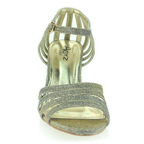 Mujer Señoras Strappy Brillante Resplandecer Tacón Medio Noche Fiesta Boda Prom Sandalias Zapatos Talla Estaño