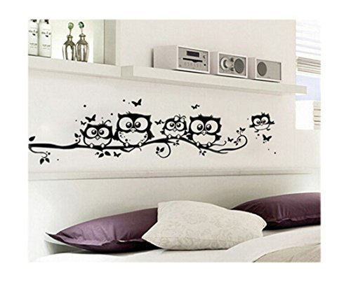 VWH Cute Five Owl on the Tree Wall Sticker Decals Home Decor