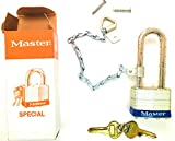 Master Lock 81 Padlock with Attached 71cs 9'' Zinc Plated Steel Chain W/Chain Holder