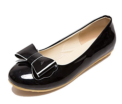 Toe VogueZone009 Heels Heels Low Shoes Round Pumps PU Women's Black Solid Solid Low w64qYRax6