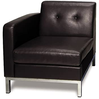 Avenue Six Wall Street Faux Leather Left Facing Armchair With Chrome Finish  Base, Espresso